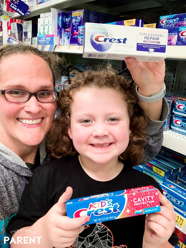 Shopping together for Crest products at Walmart