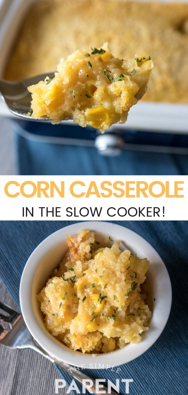 Crock Pot Corn Casserole Recipe is creamy, sweet, cheesy, and delicious! It's the best slow cooker Thanksgiving side dish! Use Jiffy corn muffin mix to make this easy corn pudding for your family and friends!