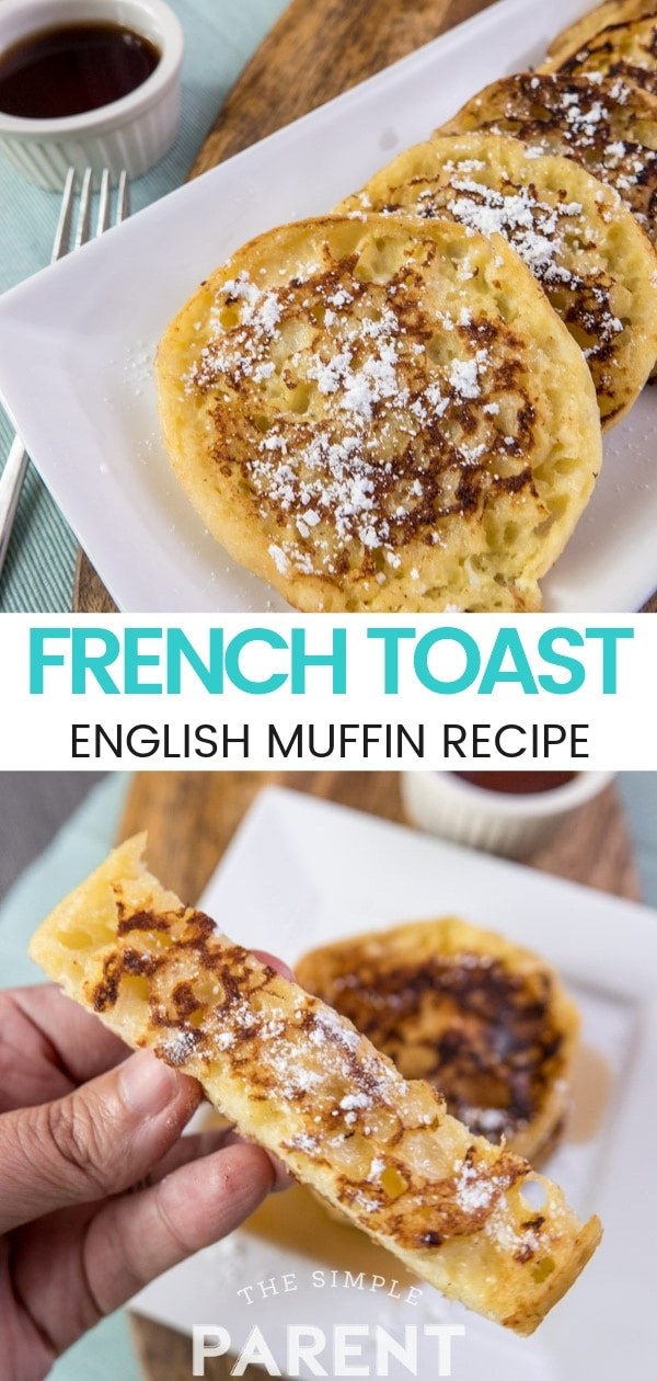 English Muffin French Toast Recipe is perfect for families and mornings together! Serve it with powdered sugar and syrup of go the healthy route with cinammon and bananas! It's an easy french toast recipe that also works great for french toast sticks!