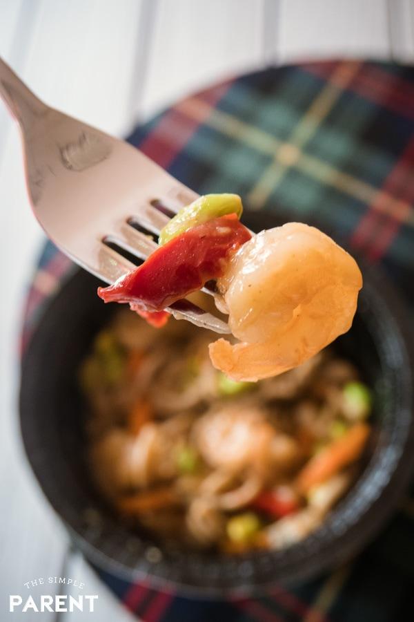 Bite of Gorton's Shrimp Bowls Soba Noodles