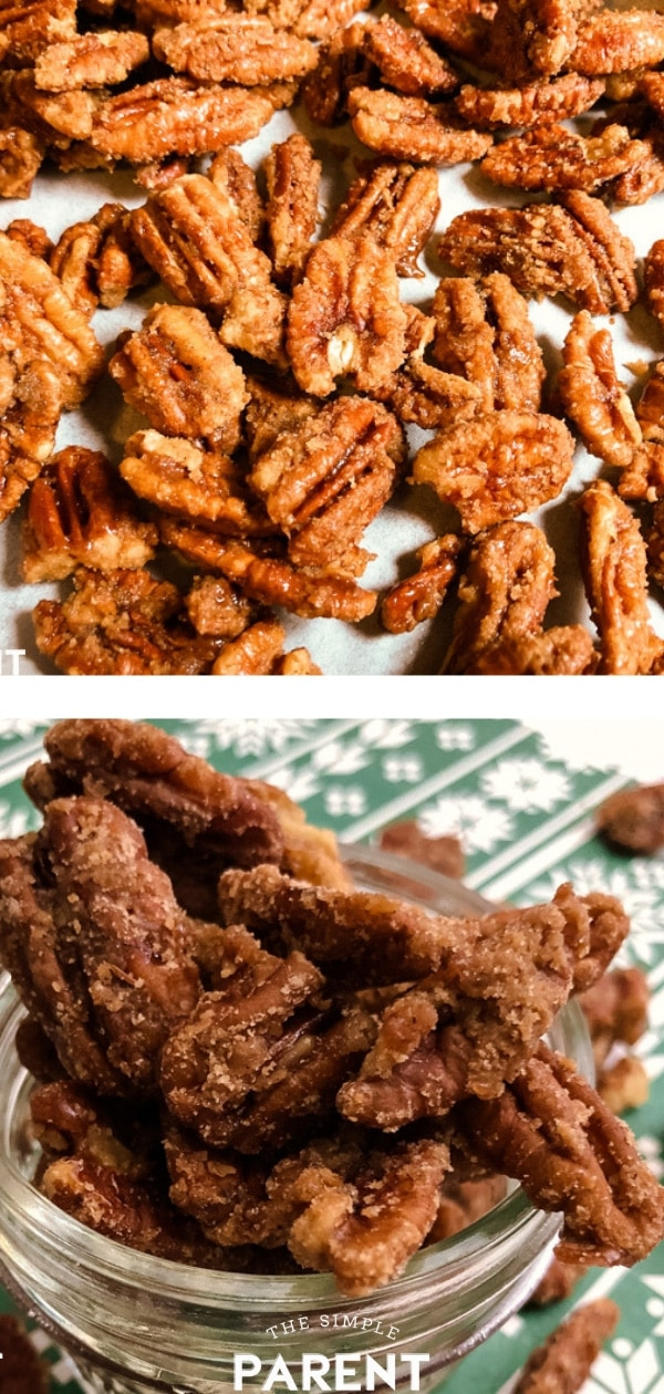 Learn how to make Candied Pecans with this easy recipe! You can make a small batch or double the recipe for gift-giving! This stovetop recipe means you can keep the oven off and enjoy tasty praline and brown sugar pecans!