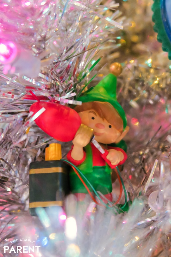 Christmas Elf with lights ornament
