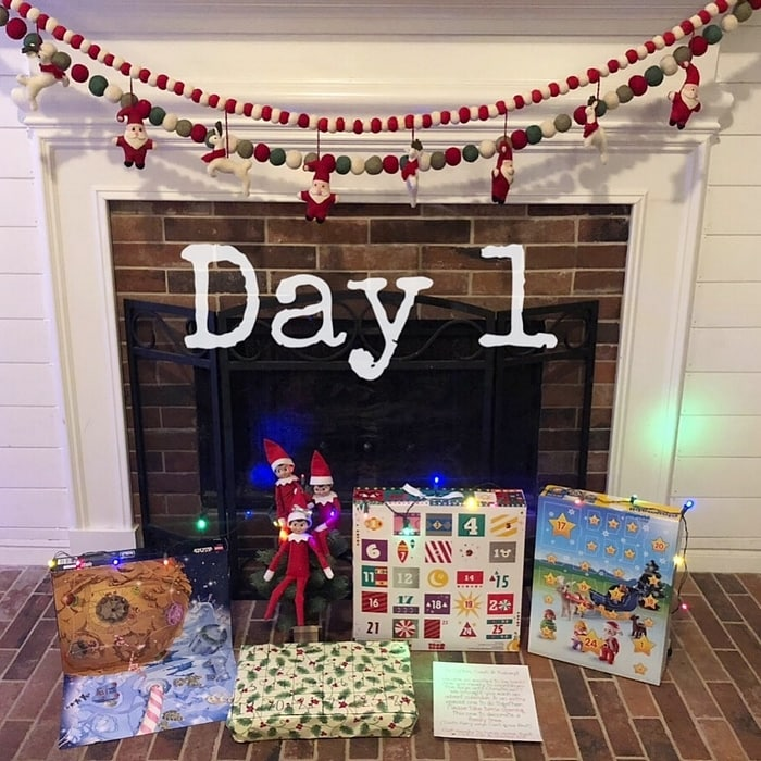 Day 1 of Easy Elf on the Shelf Ideas - Arrival with Advent Calendars