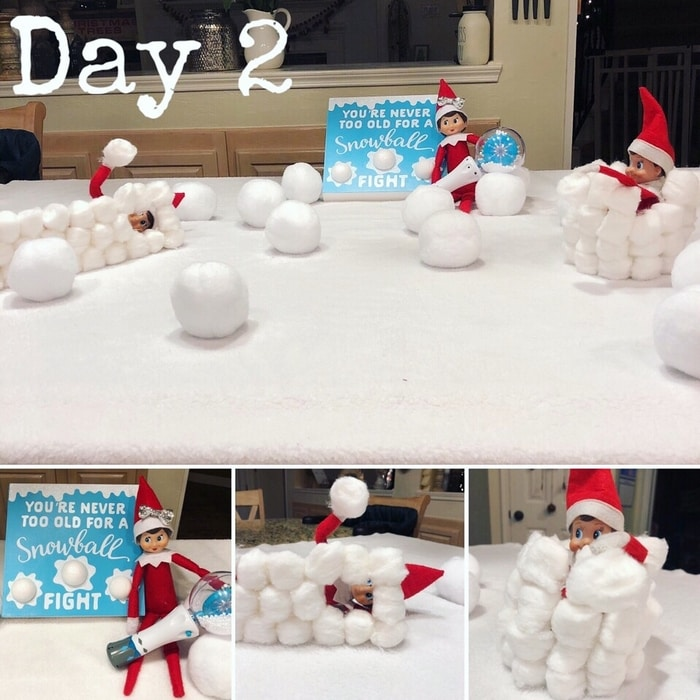 Day 2 Cute Elf on the Shelf Ideas: Snowball Fight