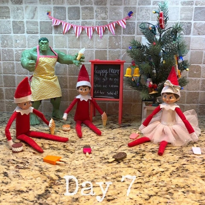 Elf on the Shelf Ideas - Ice Cream Day