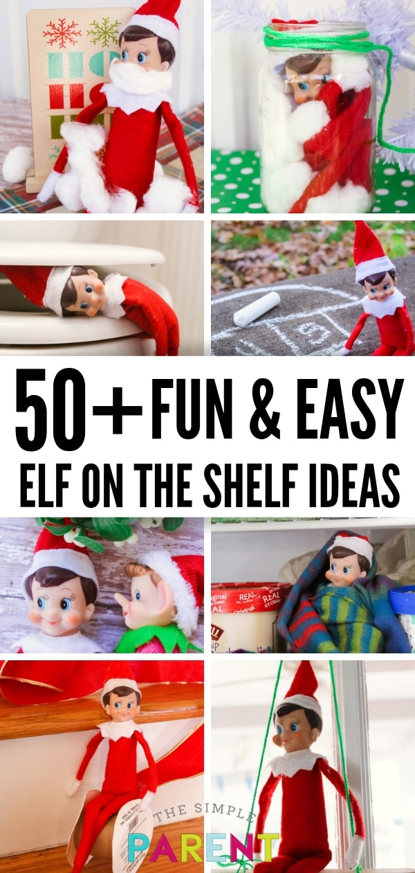 Over 50 Easy Elf on the Shelf Ideas for kids, toddlers, boys, and girls! These creative ideas include funny antics, ideas for 2 elves or more! From Day 1 to the last day, there are simple ideas, mischievous ideas, and even ideas that will work in the school classroom! I love Day 13!!