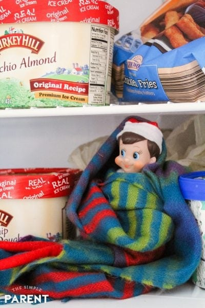 Elf on the Shelf arrival in the freezer