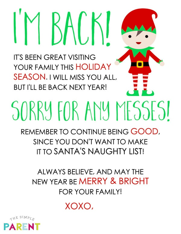 photo regarding Printable Elf on the Shelf Letter known as Elf upon the Shelf Letter: Printable Introduction Goodbye Letters