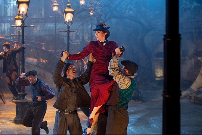 "Emily Blunt as Mary Poppins in song ""Trip a Little Light Fantastic"""