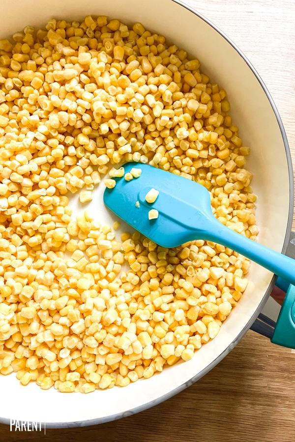 Frozen corn in a saute pan