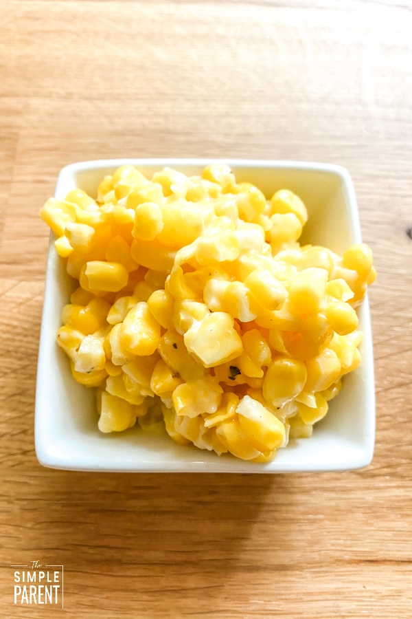 Small white born of pan roasted corn side dish