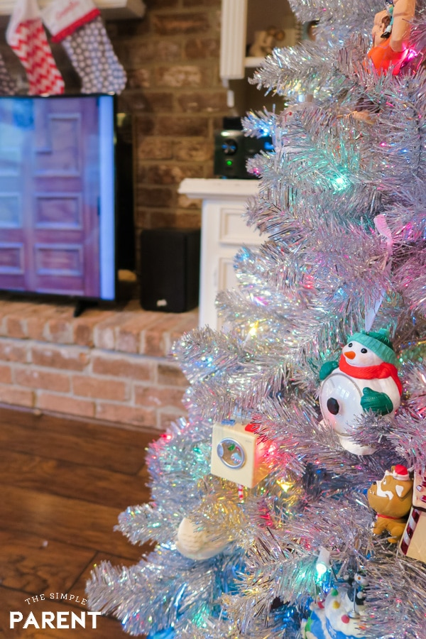 Living room with Christmas Tree and television