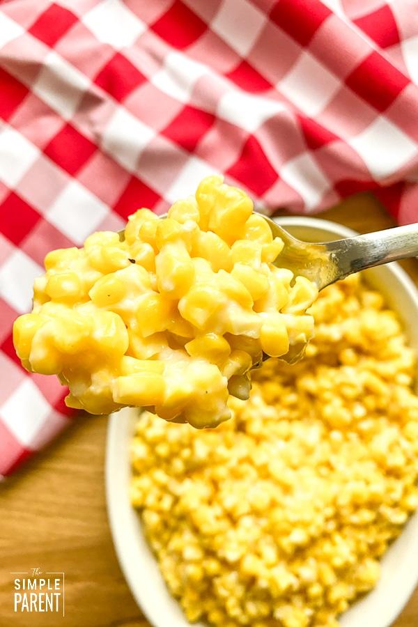 Spoonful of cheesy corn