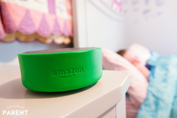 Setting morning alarm with Echo Dot Kids Edition and sleeping child