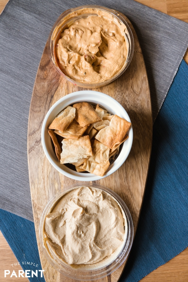 Boar's Head Hummus in different varieties with pita chips