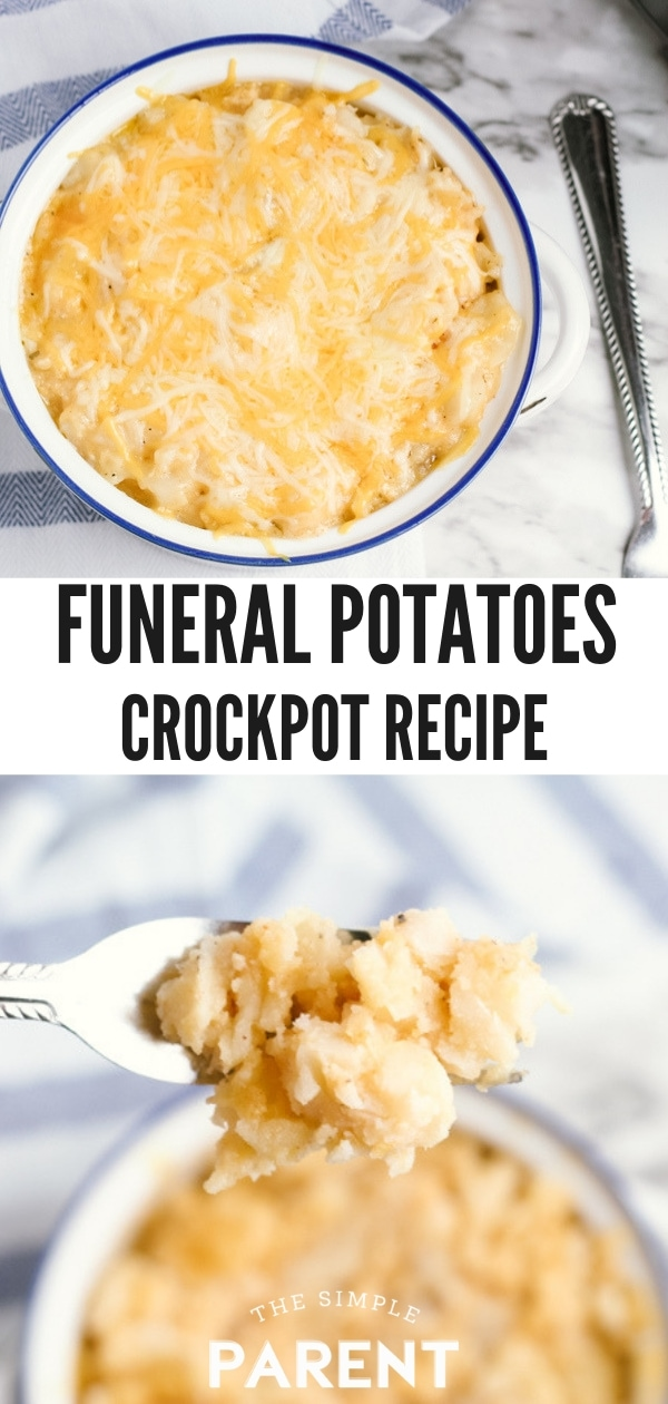 Crock Pot Cheesy Potatoes are one of the easiest recipes you'll ever make in your slow cooker! They're a perfect side dish and also great for feeding a crowd! We use frozen diced potatoes, but you can also use hash browns. Make ahead for dinner or breakfast! It's simple with quick prep time! You might also know these as funeral potatoes or party potatoes!