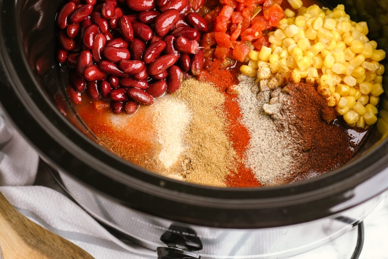 Ingredients to make easy Crockpot chili with cream cheese and chicken