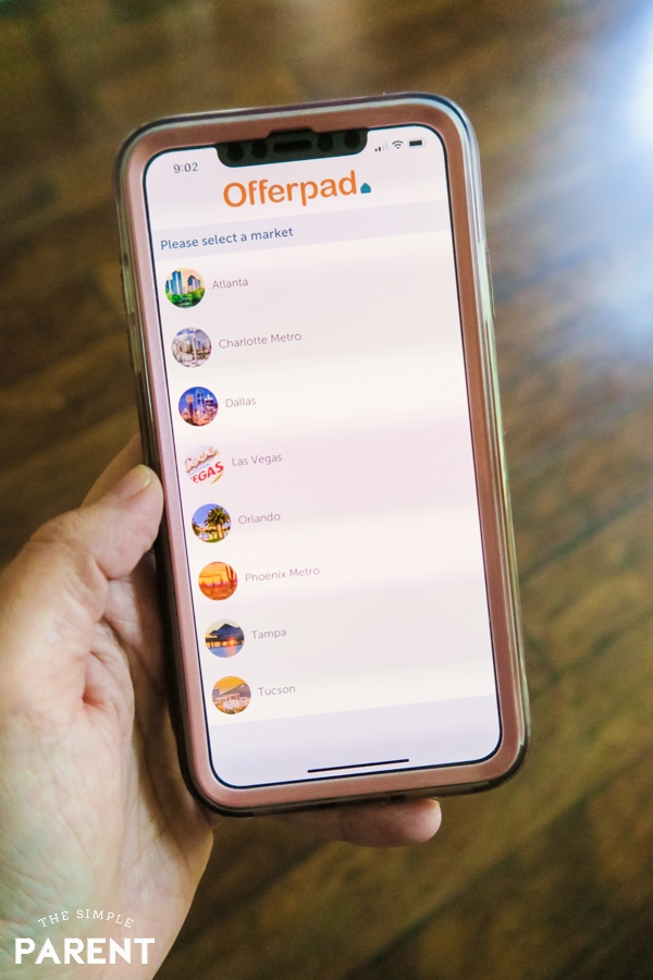 Using the Offerpad app on a smartphone