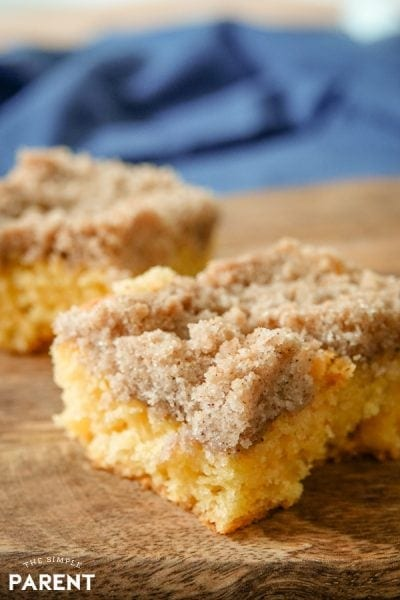 Pieces of coffee cake made with yellow cake mix
