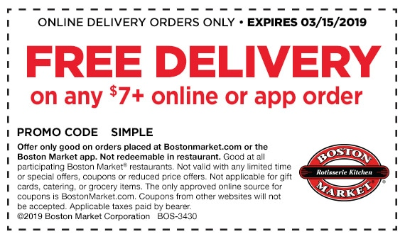 Boston Market Online Delivery Coupon for Free Delivery
