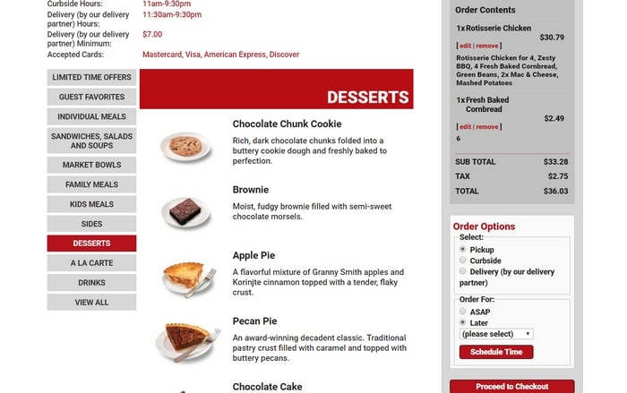 Placing online order on BostonMarket.com