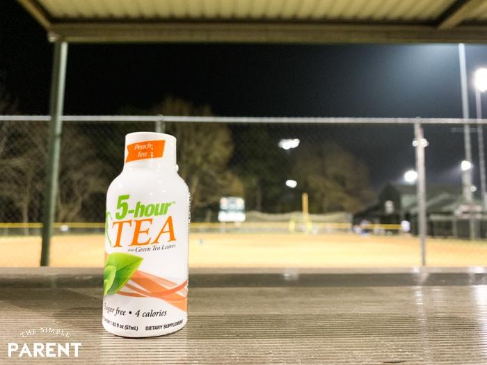 5-hour™ TEA shots in Peach Tea flavor at baseball field