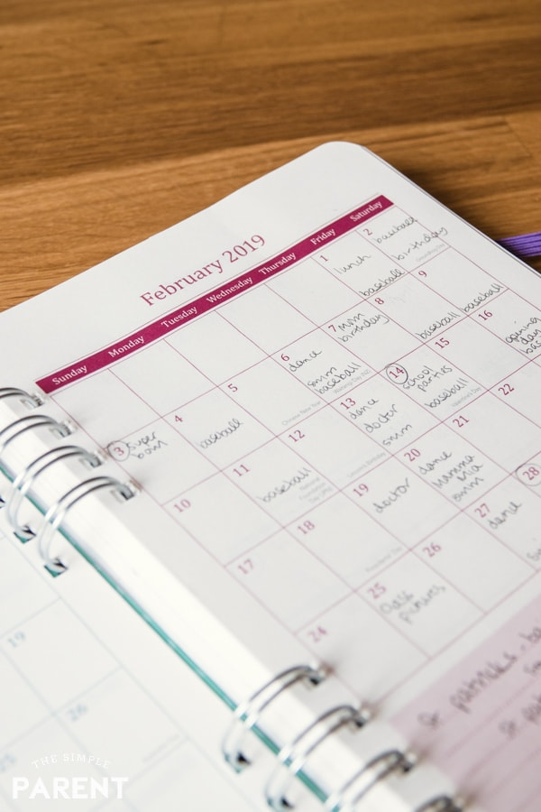 Monthly planner with activities listed