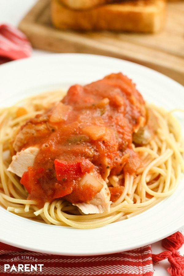 Crock Pot Chicken Cacciatore is an easy slow cooker recipe that is great for families! It's a healthy way to do a take on comfort foods. Serve over pasta, rice, or even potatoes. You can tweak the spices, tomatoes, and mushrooms to fit your family's favorite flavors!