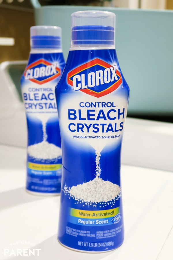 Clorox Bleach Crystals in the laundry room