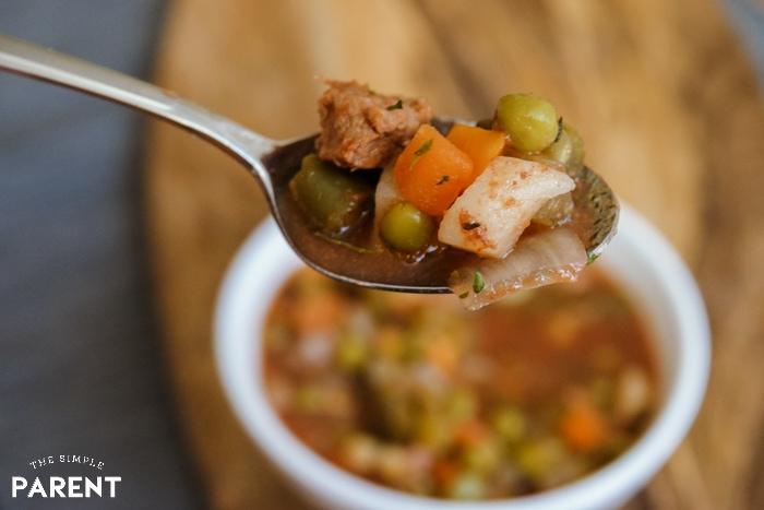 Bite of slow cooker beef vegetable soup