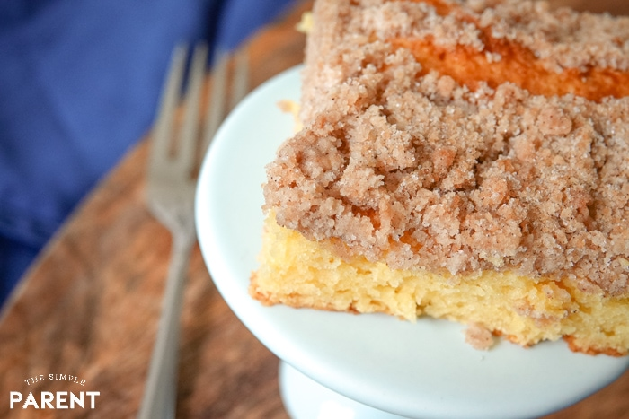 Piece of crumb coffee cake made with yellow cake mix