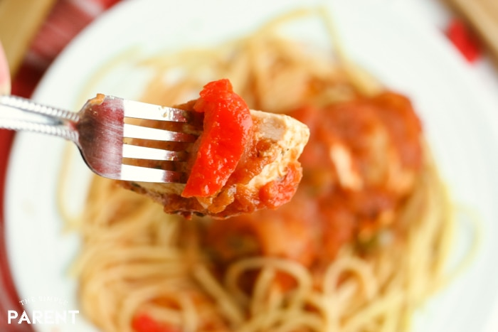 Bite of easy Chicken cacciatore made in the Crock Pot