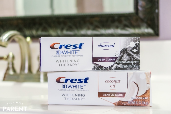 Crest 3D White Whitening Therapy with Charcoal and Crest 3D White Whitening Therapy with Coconut Oil