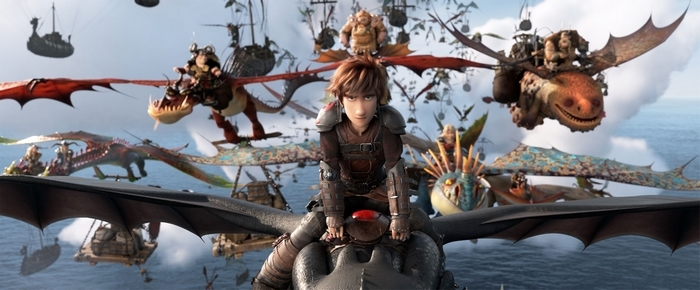 Hiccup on Toothless with other dragons in How To Train Your Dragon 3 movie