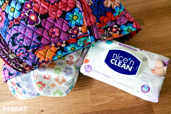 Nice 'n Clean Baby Wipes and diapers with diaper bag