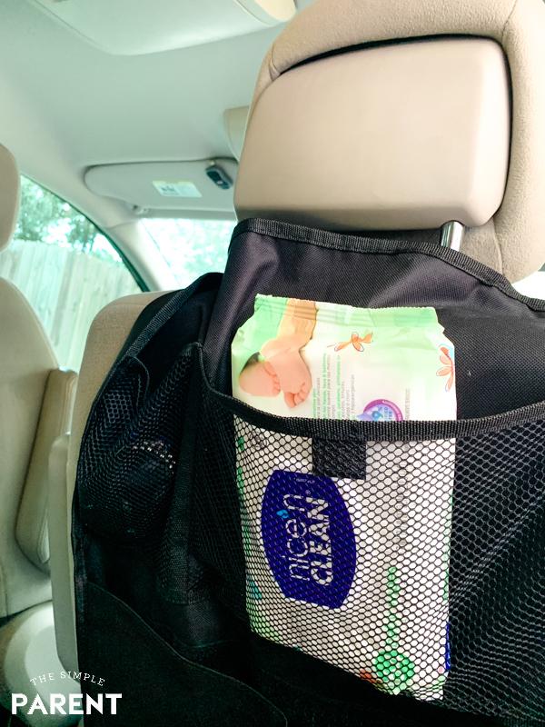 Nice 'n Clean baby wipes in car organizer