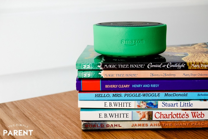 Amazon Echo Dot Kids Edition on stack of books