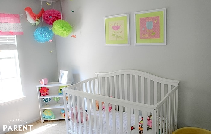 Baby nursery with white crib