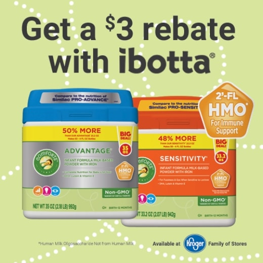 $3 rebate with ibotta on Comforts formula at Kroger