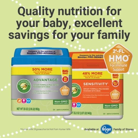 Nutrition information on Comforts Infant Formula at Kroger