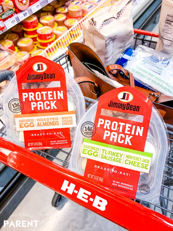 Jimmy Dean Protein Packs in HEB shopping cart