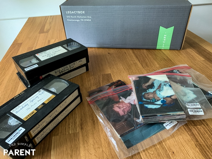 Old photos and videos organized to be mailed in Legacybox com box