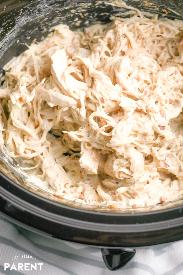 Slow Cooker Crack Chicken dip in Crockpot