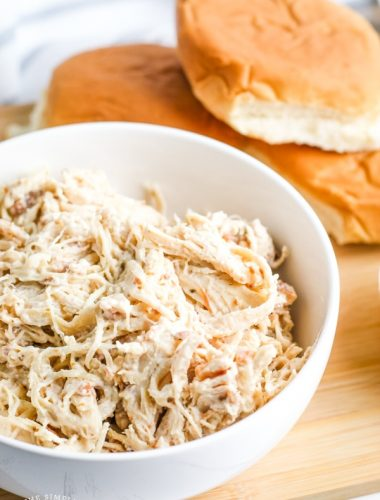 Slow cooker crack chicken dip in a bowl