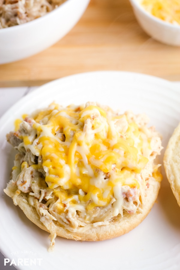 Crack chicken sandwich with shredded cheese