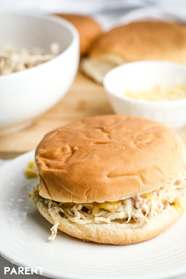 Shredded crack chicken sandwich made in the Crockpot