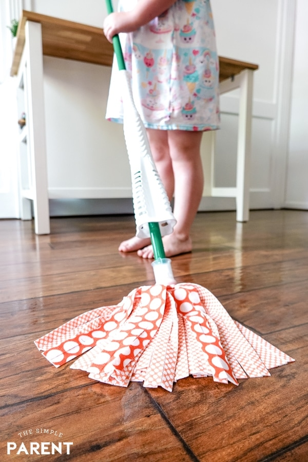 Libman Wonder Mop head on wood floor