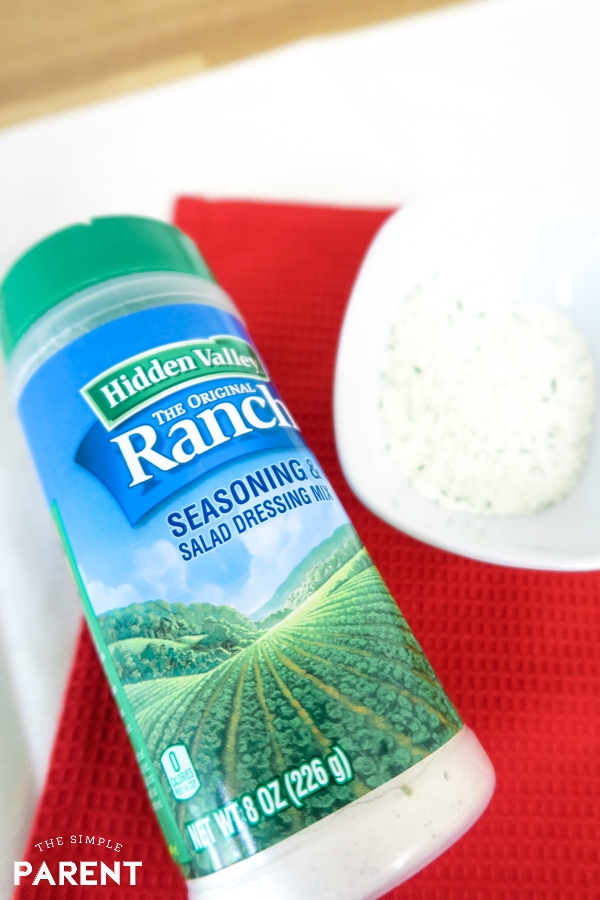 Hidden Valley Ranch Seasoning Shaker with seasoning in bowl