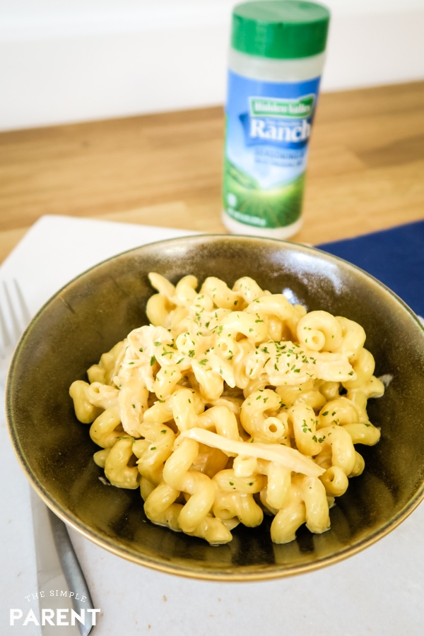 Chicken Mac and Cheese made with Hidden Valley Ranch Seasoning Shaker