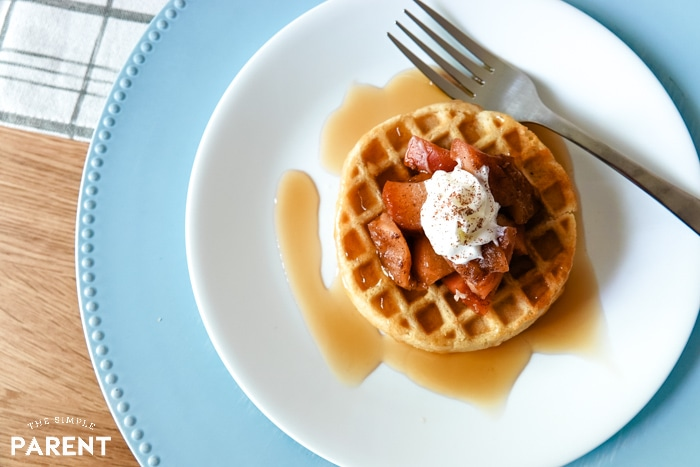 Spiced apples and whipped cream waffles